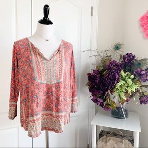 Lucky Brand Printed 3/4 Sleeve Top
